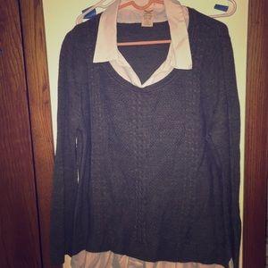 Grey sweater w/faux undershirt XXL (20) workwear